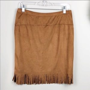 LoveRiche | zip up fringe hem skirt